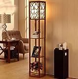 DGF Chinesische Art-Fußboden-Lampe, modernes Wohnzimmer-Schlafzimmer-Schreibtisch-Fußboden-hölzerne Fußboden-Fußboden-Lampe (L26cm * W26cm * H160cm) ( Farbe : Walnut Farbe )