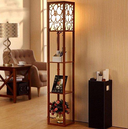 DGF Chinesische Art-Fußboden-Lampe, modernes Wohnzimmer-Schlafzimmer-Schreibtisch-Fußboden-hölzerne Fußboden-Fußboden-Lampe (L26cm * W26cm * H160cm) (Farbe : Walnut Farbe) - Chinesische Lampe