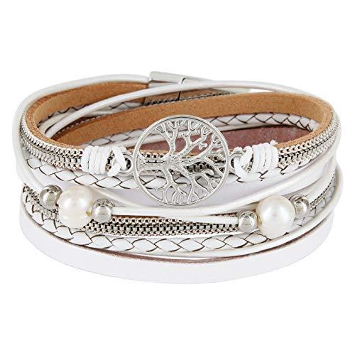 StarAppeal Armband Wickelarmband mit Perlen, Ketten, Flechtelement und Lebensbaum Anhänger, Magnetverschluss Silber, Damen Armband (Weiß)