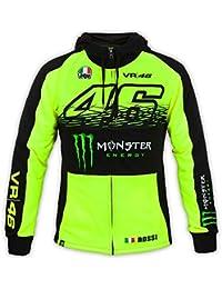 Sweat Zippé À Capuche Valentino Rossi Monster Energy Collection Sponsor Floresce (Xl , Jaune)