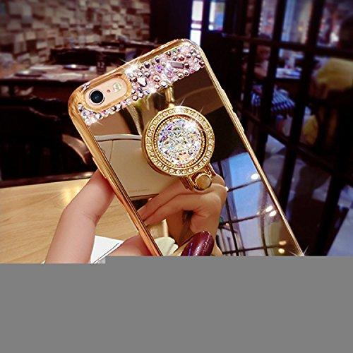 iPhone 6S Plus Hülle, iPhone 6 Plus Hülle, Vandot Diamant Glitzer Glänzend Blume Schutzhülle für iPhone 6S Plus / 6 Plus Handyhülle Bling Strass Crystal Kristall TPU Silikon Rückseite Case Cover Handy Gold
