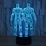 Doble Iron Man 3D Night Lights Led Lampara Nightside USB 7 colores...