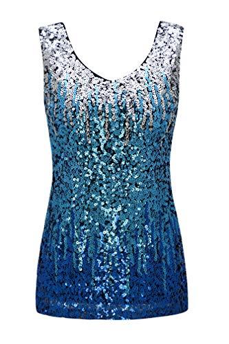 9f57331711 Metme Women s Sleeveless Tank Tops Loose V Neck Shimmer Glam Sequin  Embellished Vest Tops Silver