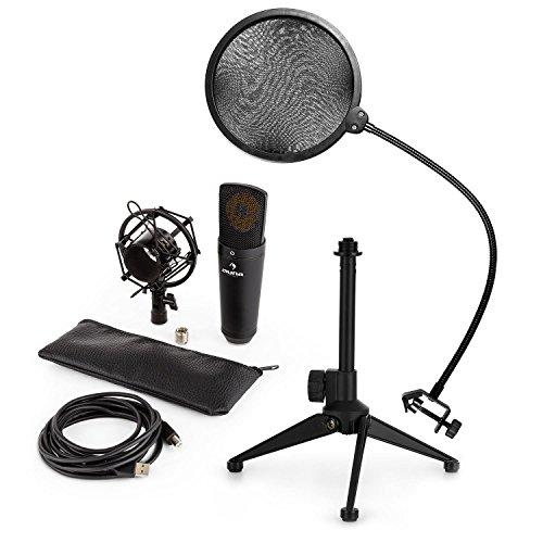auna MIC-920B - Mikrofon-Set V2, 3-teilig, USB Großmembran-Mikrofon + Popschutz + Mikrofon-Tischständer, Nierencharakteristik, Plug&Play, Schwanenhals, Höhenverstellbar, rutschfest, schwarz