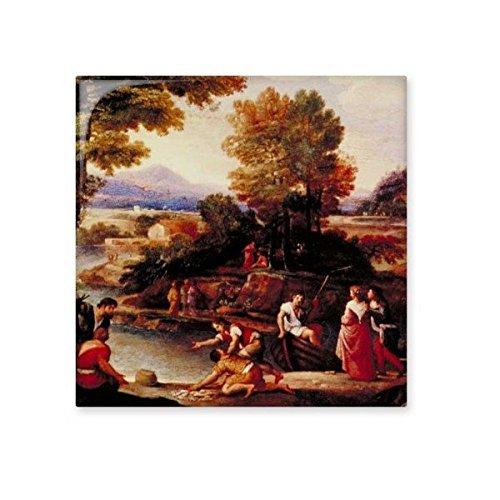 Ölgemälde Western Charakter Figur Baum River Mountain Landschaft Illustration Muster Keramik Bisque Fliesen für Dekorieren Zimmer Küche Keramik Fliesen Wand Fliesen, share00107090f9801-M (Western-keramik-fliese)