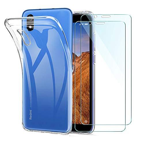 Xiaomi Redmi 7A Funda + [2 Pack] Cristal Protector de Pantalla, Transparente TPU Silicona [Funda + Vidrio Templado] Ultra Fino Protector de Pantalla 9H Dureza HD Carcasas Xiaomi Redmi 7A