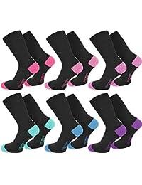 6 Paar New Style Socks - Socken mit farbig abgesetzten Fersen und Zehen aus Baumwolle mit Elasthan von normani®