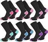 normani 6 Paar Socks - Socken mit farbig abgesetzten Fersen und Zehen aus Baumwolle mit Elasthan Farbe Pink/Rosa/Flieder/Mint/Türkis/Lila Größe 39/42