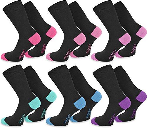 6 Paar New Style Socks - Socken mit farbig abgesetzten Fersen und Zehen aus Baumwolle mit Elasthan von normani® Farbe Pink/Rosa/Flieder/Mint/Türkis/Lila Größe 39/42