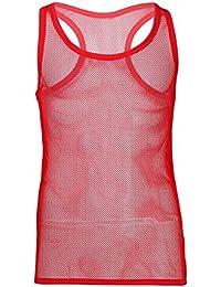 iiniim Herren Shirt Transparent Unterhemd Tank Tops Männer Netzhemd  Netzshirt Ohne Arm M-XL d4f26302bf