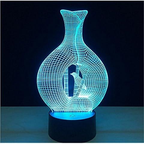 Jaula de pájaros Escritorio 3d lámpara 7 colores Cambio Touch interruptor de la mesa de control remoto LED de luz de la noche de iluminación la decoración del hogar accesorios para el hogar