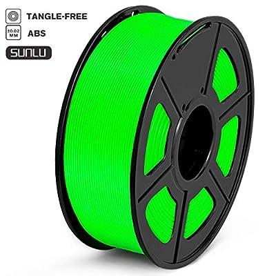 SUNLU ABS Plus 3D Printer Filament, ABS Filament 1.75 mm, 3D Printing filament Low Odor Dimensional Accuracy +/- 0.02 mm, 2.2 LBS (1KG) Spool 3D Filament for 3D Printers & 3D Pens,Green ABS