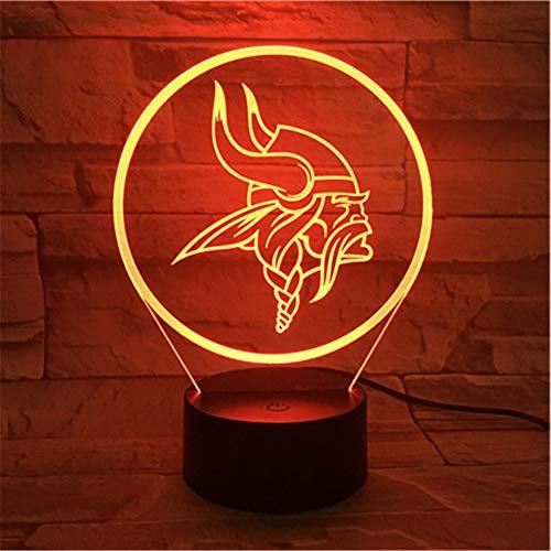 Lixiaoyuzz 3D Nachtlampe Minnesota Vikings Nachtlampe Schlafzimmer Usb Touch Sensor Kinder Kinder Geschenk Neuheit Team Logo Led American Football (Vikings Geburtstag Minnesota)