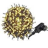 AUFUN LED Lichterkette Außen WarmWeiß - Außenlichterkette Weihnachtsbeleuchtung Wasserdicht IP44 mit 8 Leuchtmodi - für Hochz