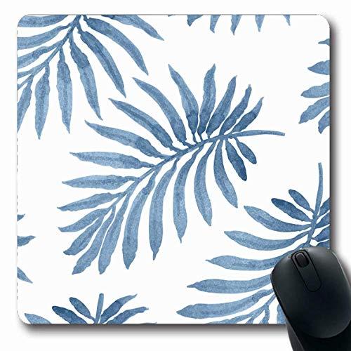 Luancrop Mousepads Blaues Blatt-Blumenmuster Palmen-Laub-Natur-Aquarell-Batik-Indigo-tropischer Baum-graue Flora-rutschfeste Spiel-Mausunterlage Gummi-längliche Matte -
