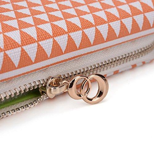 Kroo d'embrayage avec dragonne Portefeuille 16cm Smartphones et phablettes pour Prestigio MultiPhone 7600Duo Multicolore - Rose Multicolore - White and Orange