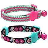 Blueberry Pet Pack of 2 Cat Collars, Geometric Design Adjustable Breakaway Cat Collar in Warm and Low-bright Colors with Bell, Neck 23cm-33cm