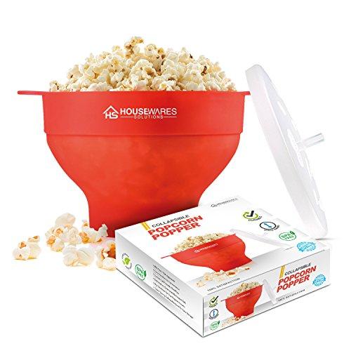 Microonde pieghevole in silicone Hot Air popcorn popper ciotola con coperchio e manici