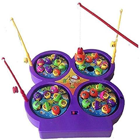 Divertido Mini Magnetic de Pesca con 4 estanque de Peces Rotativo Electrónico Musical de Juego para Niños Niña de 3