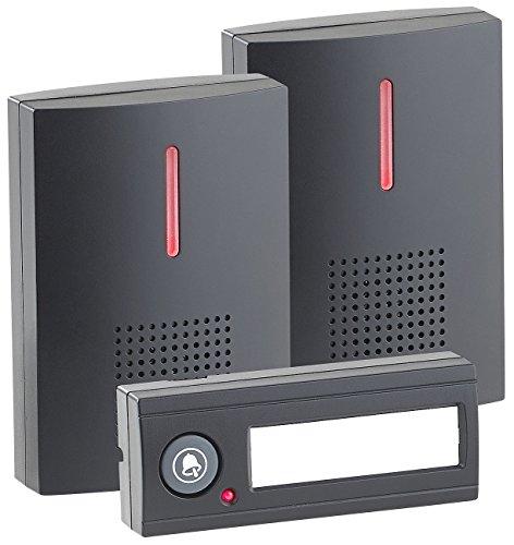 CASAcontrol Funktürklingel: Kabellose Funk-Türklingel mit 2 Empfängern (Licht & Ton), 100 m, IPX4 (Funkklingel mit 2 Empfängern)