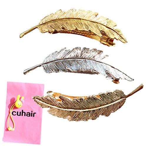 Cuhair 3 Stück Metall Feder Blatt Haarklammern/Haarclips Haarspange Haarnadeln Haargreifer Haarklammer Haarschmuck hair accessories
