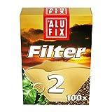 100 Stk. ALUFIX Kaffee Filterpapier Kaffeefilter ungebleicht Größe 2
