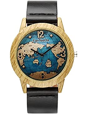 JSDDE Uhren,Vintage Holz-Muster Weltkarte Armbanduhr Damenuhr Kleid Uhr PU Lederarmband Analog Quarzuhr,Schwarz