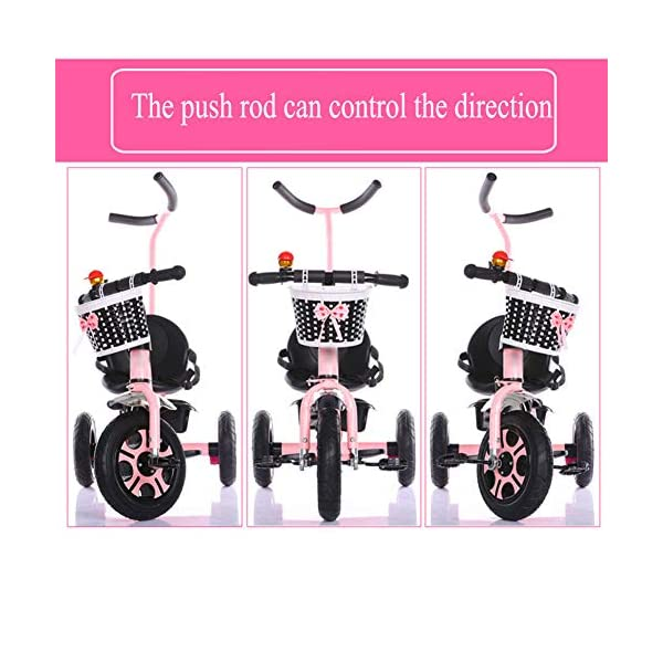 GSDZSY - Children Tricycle 3 Wheel Bike 2 In1, With Removable Push Handle Bar,EVA Soft Wheel, Non-slip Pedal, Rear Wheel With Brake,2-6years,Pink GSDZSY  2