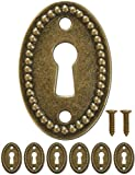 FUXXER® - Set di 6 targhe ovali per chiavi, in stile vintage, con viti, 37 x 24 mm