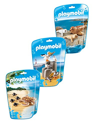 Playmobil animales marinos conjunto de 3 piezas que consisten en: 9069 Sello con los bebés, familia Pelican 9070 y 9071 de la tortuga con los bebés