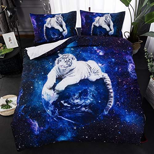 JSDJSUIT Bettwäsche-Set 3D Star White Tiger Bettwäsche-Sets Tierdruck Steppdecke Bettbezug Bett in einem Beutel Blatt Leinen Tagesdecke, US Full 3pcs