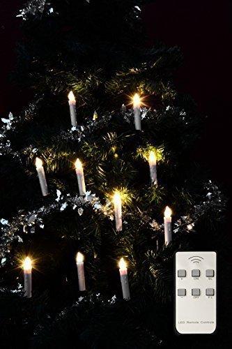 LED Kerzen Weihnachtsbaum Kerzen kabellos batterie betrieben 10er Set | 10 Christbaum Kerzen ohne Kabel | sehr hochwertige Verarbeitung | LED dimmbar | Weihnachtsbeleuchtung mit Fernbedienung