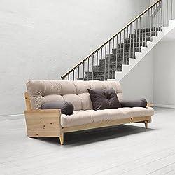 Indie sofa cama de madera con futon , pino natural/futon magenta by Karup