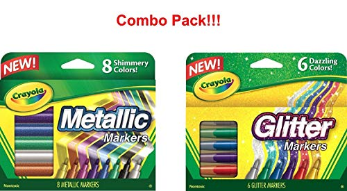 Crayola Metallic Markers 8 Count, Glitter Markers 6 Count, Combo Pack Bundle