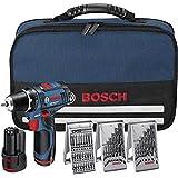Bosch GSR 12v-15 - Taladro de batería (LI-Ion 12 V, 1.5 Ah, 950 g) con accesorios, 2 baterías, cargador y bolsa de transporte