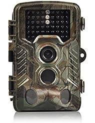 Caméra de Chasse, 16MP H&O Caméra de Surveillance Imperméable Vidéo 1080P HD 46 LED avec Accéléré 25m 125° PIR Grand Angle de Vision Nocturne Camouflage Invisible Observation Traque IR Caméra de Jeu Infrarouge (16MP)