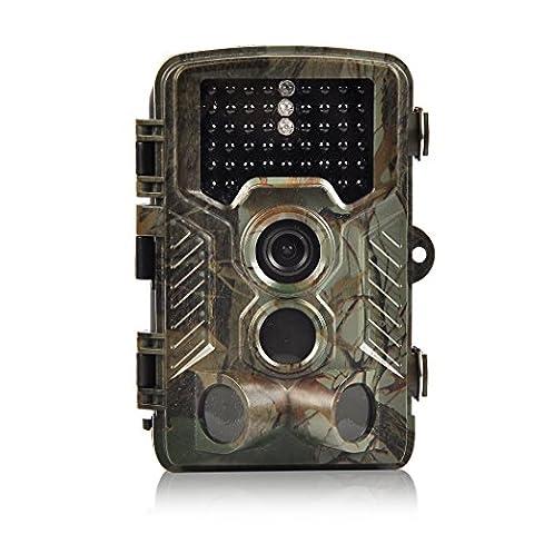 H&O 16MP 1080P HD Game & Trail Hunting Camera 46 Pcs Low Glow Black Infrared LEDs 2.4 Inch TFT LCD Display 125° Wide Angle PIR Sensor & Detection Range 82ft Night Vision Waterproof IP56