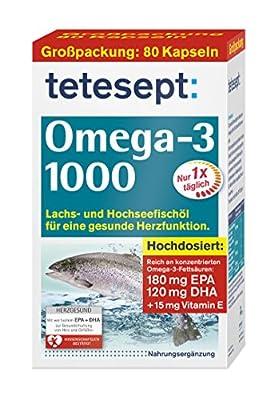 tetesept Omega-3 1000, Lachs und Hochseefischoel fuer eine gesunde Herzfunktion Hochdosiert 80 Kapseln Nahrungsergaenzungsmittel mit Oel aus Lachs- und Seefischen Omega-3 Fettsaeuren Vitamin E