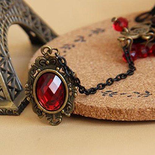 Hrph-Elegante-estilo-gtico-de-encaje-rojo-rosa-pulsera-con-anillo-de-dedo-ajustable