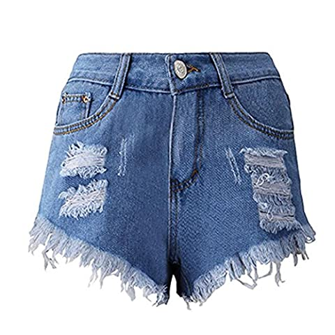 Kolylong Women Summer Skinny Ripped High Waisted Denim Shorts Jeans Hot Beach Pants (UK 16, Blue 2)