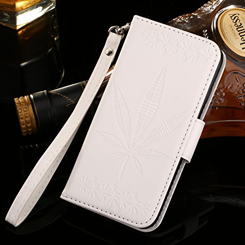 Vandot IPhone 7 Cuir Coque housse Etui Case Cover pour IPhone 7 4.7 Pouces Fermeture Eclair Leather Money Sac Carte Bag Protection telephone Hull Cas Portefeuille + Stylet - Noir Maple Leaf-Blanc