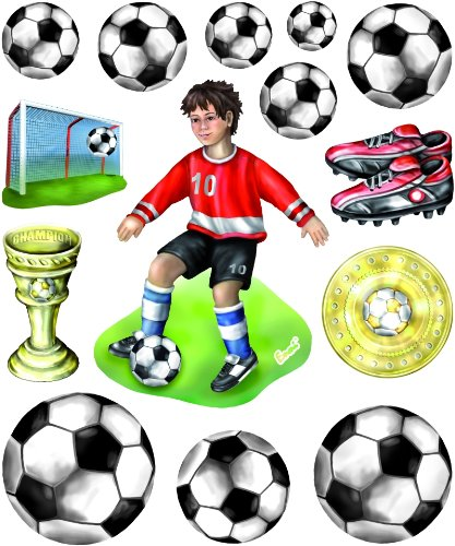 Stickerkoenig Wandtattoo 3D Sticker Wandsticker - Fussballer Fußbälle Tor mit Stadion #519 Set 1 Kinderzimmer Deko auch für Wände, Fenster, Schränke, Türen etc auf Bogen