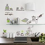 Zooarts Mural decorativo de pared de vinilo adhesivo, dibujos de taza de café y accesorios de cocina