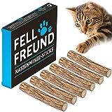 FELLFREUND 6X Katzenminze Stick – 6 Stück – Katzenspielzeug – 100% Natur – Mit Premium Matatabi-Holz – Kausticks Zur Zahnpflege – Gegen Mundgeruch und Zahnstein - Fördert den natürlichen Spieltrieb