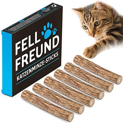 FELLFREUND 6X Katzenminze Stick - 6 Stück - Katzenspielzeug - 100% Natur - Mit Premium Matatabi-Holz - Kausticks Zur Zahnpflege - Gegen Mundgeruch und Zahnstein - Fördert den natürlichen Spieltrieb (Heiße Katzen Katzenminze Spielzeug)