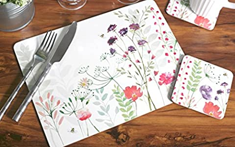 Set of 4 English Tableware Co. In Bloom Cork-Backed Placemats & 4 Coasters (8 Piece)