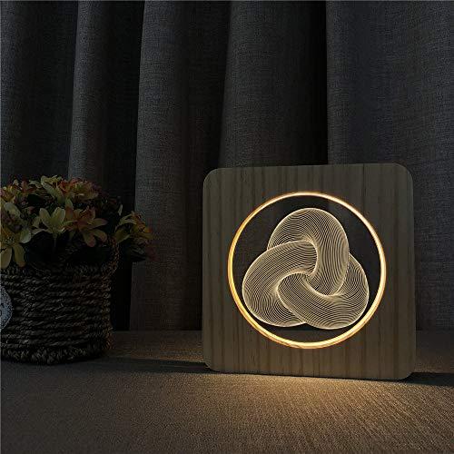 Kinder zurück in die Schule dekorative Geschenke abstrakte Knoten Acryl Holz Nachtlicht Tischlampe Schalter Kontrolle Gravur Lampe