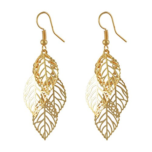 Earring leave or leaf shape, Alloy Dangle Gold Plated Drop Earrings for Women  available at amazon for Rs.199