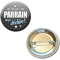 Je suis un PARRAIN qui déchire Badge rond à épingle 38mm ( Idée Cadeau Baptême Communion Noël )