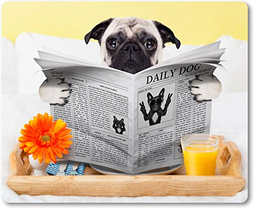 Mauspad / Mouse Pad aus Textil mit Rückseite aus Kautschuk rutschfest für alle Maustypen Motiv: Mops sitzt im Bett liest die Zeitung und frühstückt | 11 -